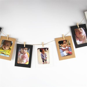 Wholesale 3color Suspension frame Washing Line Hanging Gallery on Line Paper Photo Frames Wooden Clip Hemp Rope Suitable for 3-inch photo IB552