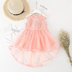 Wholesale New Summer Girls Lace Princess Dress Baby Kids Sweet Sleeveless Dress Children Irregular Ball Gown Tutu Party Dresses Pink Yellow