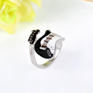 Women Men Ring Jewelry Punk Style Bright Colorful Glazed Guitar Ring Lovers Couples rings Finger Rings Bague Fashion Jewellry Gifts Free DHL