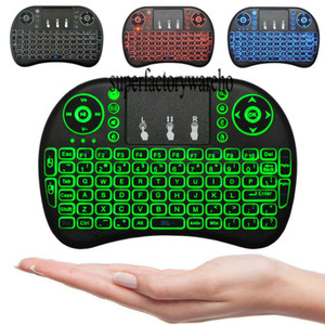 Wholesale Mini Wireless Keyboard colour backlit GHz English Russian Remote Control Touchpad For Android TV Box Tablet PC Smart TV