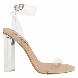 Wholesale Crystal Transparent Lucite Heel Sandals Woman Shoes Chunky heels Leather Evening Party Pumps Ankle Wrap Gladiators Mujer Sapatos Size