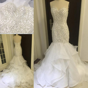 Wholesale organza lace mermaid wedding dress resale online - 2020 New Luxury Real Image Mermaid Wedding Dresses Sweetheart Lace Appliques Crystal Beaded Organza Ruffles Court Train Formal Bridal Dress