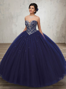 Wholesale royal blue quinceanera dress rhinestones resale online - New Coming Ball Gown Sweetheart Silver Rhinestones Navy Blue Quinceanera Dresses Debutante Gown With Jacket Princess Long Gowns ADQ003