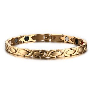 Wholesale Fashion Women Gold Color Healing Energy Negative Ion Infrared Stainless Steel Germanium Magnetic Bracelet for Women Christmas Gift B813S