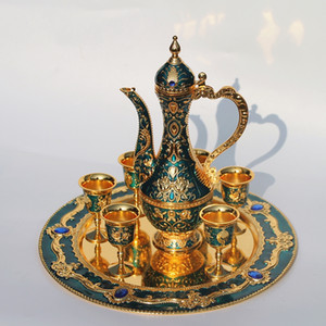 Wholesale 12 quot plate gold finished flower pattern metal wine set tea set fashion zinc alloy wine set color