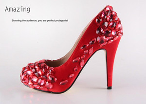 Wholesale platform handwork custom made diamond pearl red color bride wedding party dress high heel women lady shoe
