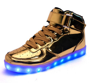 Wholesale Led Shoes Man USB Light Up Unisex Sneakers Lovers For Adults Boys Casual Students Sports Glowing With Fashion High Top Lights Board Shoes