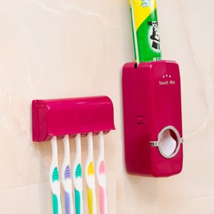 Wholesale Automatic Easy to Use Touch Me Toothpaste Dispenser with Toothbrush Holder Set White and Red ELH002