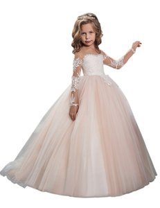 2019 New Lace Strap Design Embroidery Sheer Long Sleeves Flower Girls Dresses on Sale