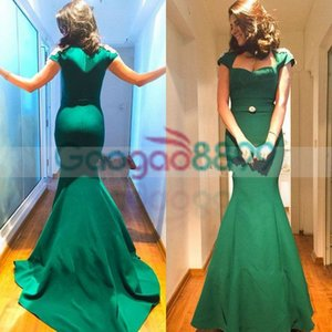Wholesale 2019 Dubai Saudi Arabia Middle East Prom Dresses Mermaid Green Sleeveless Satin Evening Party Gowns Robes de Soiree