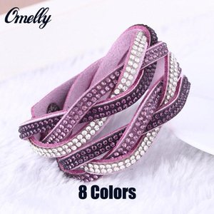 Wholesale 8 Colors Multilayer Wrap Bracelets Rhinestone Diamond Crystal Leather Bracelets Band Tennis Wristband Colorful Charming Jewelry In Bulk