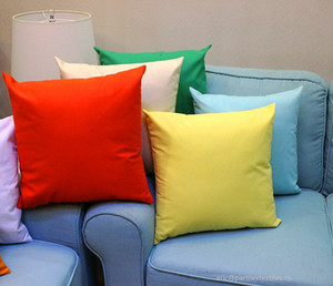 18x18 inches candy color pillow case multi-solid color 100% cotton pillow cover plain color cushion cover
