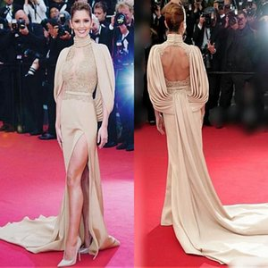 Wholesale Oscar Hot Red Carpet Celebrity Evening Dresses Sheath High Neck Illusion Lace Appliqued High Split Formal Party Gowns Keyhole Backless