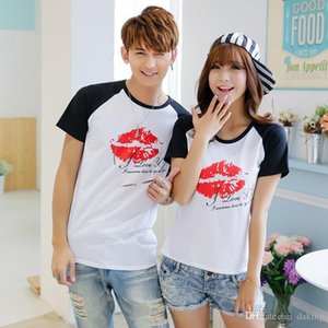 Wholesale 2017 Summer Europe US Fashion Sexy Red Lip Kiss Printing Cotton Tshirt Men Women Unisex D Printing Beach Casual Tees Shirt
