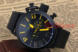 Wholesale gold leaves resale online - Black Case Mens watch Sports mm Big Boat Silver Black Rubber Classic Round Automatic Movement Mechanical Left Hand Watches Wristwatches