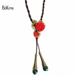 Wholesale womens accessories for sale - Group buy BoYuTe Pieces CM Length Vintage Style Red Flower Ceramic Bead Hand knitted Rope Chain Necklace Womens Clothing Accessories
