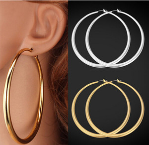 Trendy Big Hoop Earrings 18K Real Gold Plated Elegant Larger Size Women Earring Fashion Costume Jewelry