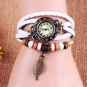 Wholesale 2016 Hot saling Women Vintage Watches Leaf Butterfly Pendant bracelet Wristwatches Women Copper Watch Genuine Leather Hand Knit