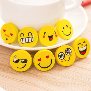 Wholesale office school supplies cute yellow cartoons smile face round rubber pencil erasers for kids material escolar