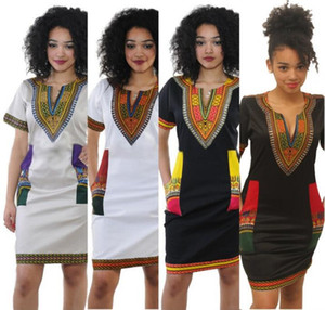 Wholesale S XL Women Summer Bodycon Dress Ladies Robe Sexy Casual Sundress Party Plus Size Clothing Vintage African Print Dashiki Dresses