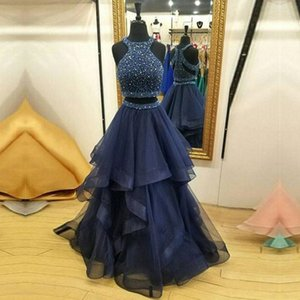 Hot Sale Charming Two Pieces Navy Blue Long Evening Dresses Sweep Train Ruffles Beaded Formal Evening Gowns Prom Dresses on Sale