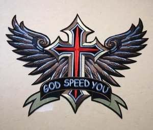 Wholesale Motorcycle Club Patches cm cm GOD SPEED YOU Eagle Embroidered Biker Patches Big Cross Patch For Motor Jacket Vest High Quality