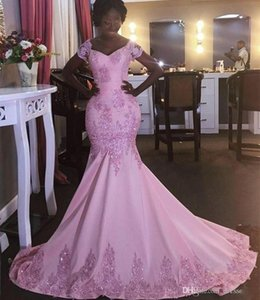 2017 Hot Dubai Arabic Style Glamorous Pink Long Evening Dresses Mermaid Appliques Sequined Sweep Train Women Formal Party Dresses on Sale