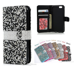 Wholesale Diamond Flip Wallet Phone Case Shiny Bling PU Leather Card Slot Phone Covers for LG LV3 K7 iPhone Samsung J6 A7