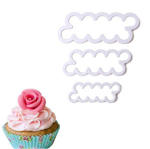 Wholesale set Rose Flower Cake Molds Plastic White Rose Flower Fondant Cutter Cake Decorating Molds Biscuit Cutter DH030