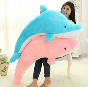 Wholesale 45CM CM CM Giant Huge Cuddly Stuffed Animals Plush Lovely big dolphin doll Blue Pink