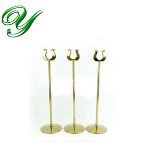 Wholesale table number holder gold card stand silver wedding place card holders U shape table decoration stainless cm business card holder size