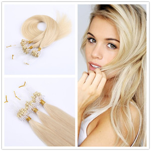 Wholesale loop hair extensions pack silky straight brazilian human hair micro ring links hair extensions