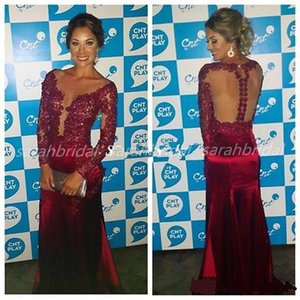Wholesale 2019 Long Sleeves Evening Dresses burgundy full lace Beads Mermaid Backless red Women 12y Formal Prom Gowns Red Carpet Celebrity Vestidos