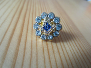Masonic Lapel Pins Badge Mason Freemason B31 Rhinestones Round