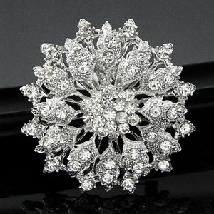 Wholesale Luxury Rhinestone Pin Brooch Bridal Flower Corsage Clear Crystal Wedding Bouquet Brooches Pins Breastpin for Men Women Wedding Jewelry