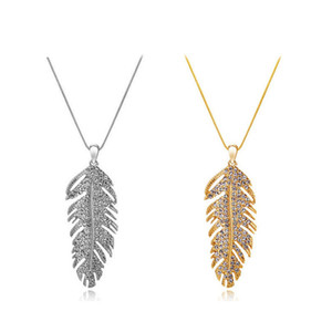 Wholesale Fashion love wings bohemian fashion feather leaf crystal pendant link chain necklace or earrins women valentine s day gifts