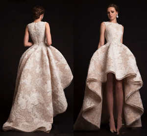 Wholesale Krikor Jabotian Evening Gowns Hilo Ruffles Prom Dresses Crew Neckline Organza Flower Appliques Formal Dress Ball Gown Shape