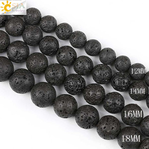 Wholesale CSJA Free Drop Shipping mm Big Round Black Lava Rock Natural Stone Beads for Women Men Necklaces Bracelets Making with String E193 E