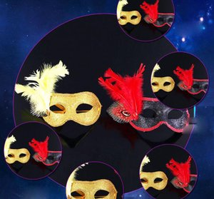 Wholesale Mask Halloween costume party plastic ball set auger feather mask of coloured drawing or pattern black and gold Christmas gifts