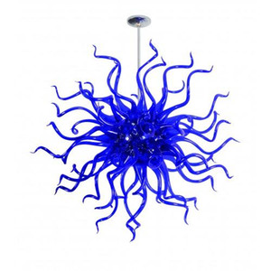 Mini Blue Art Glass Style Blown Chandeliers Lighting with LED Source Hanging Round Lamps