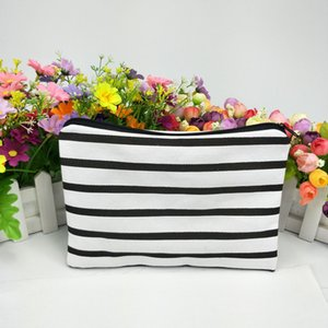 Wholesale 50pcs black white stripe canvas coin purse in in with black zip canvas zip pouch direct from factory free ship by DHL in stock