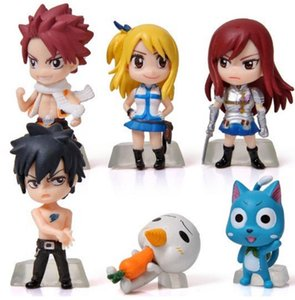 Wholesale 6Pcs Set Anime Cartoon Character Fairy Tail Natsu Gray Lucy Erza Figure Action Doll Toys Great Gift