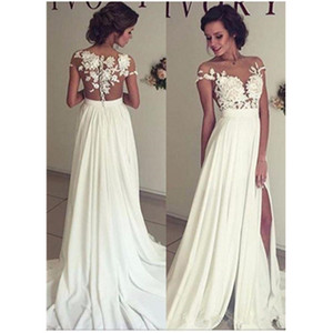 Wholesale sexy wedding dresses transparent resale online - Empire Sheath Wedding Dresses Short Sleeve Bridal Gown Transparent Side Split Sexy Custom Made New Appliques White Ivory Fashion Vestidos