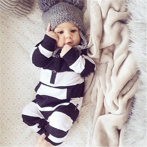 Wholesale 2017 New fashion baby rompers unisex cotton Long sleeves Black and white stripes Jumpsuit newborn toddler baby boy girl clothes