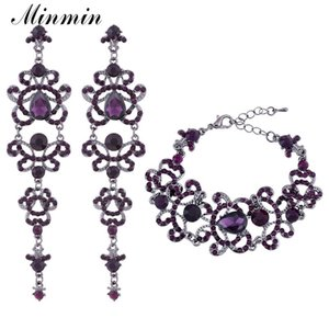 Wholesale Purple Crystal Bridal Jewelry Sets Large Teardrop Earrings Bracelets Sets Wedding Jewelry Sets for Women EH168 SL029