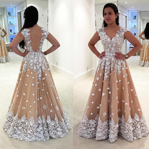 Wholesale Newest 2017 White Lace Applique Flowers Beaded Prom Dresses Sweetheart Sheer Back Champagne Tulle Plus Size Party Dress Formal Evening Gowns