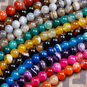 Wholesale 8mm Natural Color Stripe Agate Beads Round Stone Beads For Jewelry Making DIY Bracelet Necklace Onyx Bead
