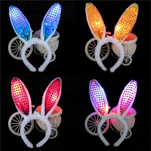 Wholesale New Fashion Bunny Girl LED Headband Headwear Masquerade Performance Show Flash Rabbit Ears Headwear Sequins Plush Headband Decorations