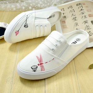 High Quality Graffiti Shoes Bamboo Dragonfly Female Hand-painted Women Loafers Canvas Cartoon Shoes Low Cut Sneakers Casual Shoes