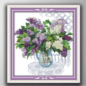 Wholesale paint basket resale online - Colorful A basket of the Lilac home decor painting Handmade Cross Stitch Embroidery Needlework sets counted print on canvas DMC CT CT
